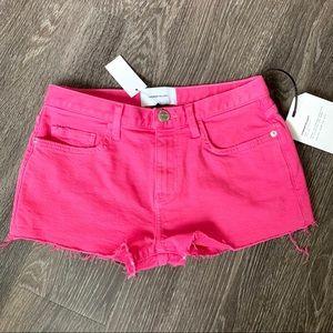 Current/Elliot cutoff frayed denim pink shorts